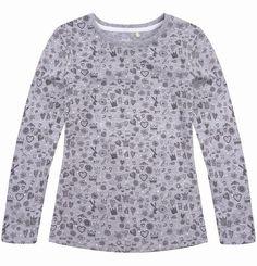 """Bluzka dla dziewczynki. Kolekcja: """"Z głową w chmurach"""" Men Sweater, Long Sleeve, Girls, Sleeves, Sweaters, Mens Tops, T Shirt, Fashion, Simple Lines"""