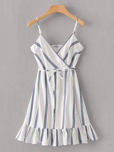 Shein Striped Self Tie Ruffle Hem Cami Dress Teen Fashion Outfits, 80s Fashion, Outfits For Teens, Summer Outfits, Summer Dresses, Simple Dresses, Cute Dresses, Casual Dresses, Pretty Outfits