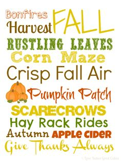 Fall Subway Art printable she has several other free printables here Fall Subway Art, Diy Calendar, Happy Fall Y'all, First Day Of School, Fall Crafts, Printable Art, Free Printables, Fall Halloween, Word Art