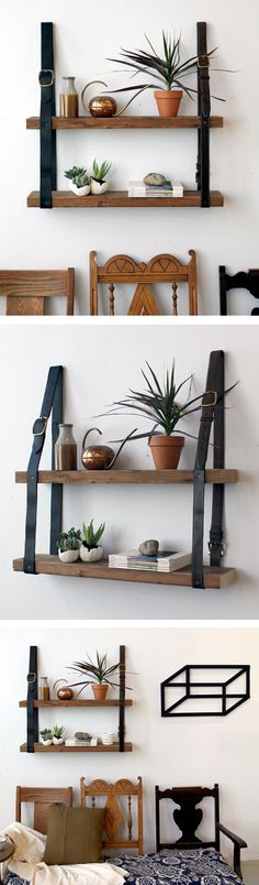 shelf with planks and belts