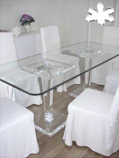 Lucite Acrylic dining table - Acrylic furniture - TAVOLI PRANZO IN PLEXIGLASS | Tavolo trasparente in plexiglass 14.mod. MERCURY | Tavolo in plexiglas cm.150 x 75 h.76 - 2 basi MERCURY fusto diam.cm.12 - piani cm.40 x 40 / 35 x 35 sp.mm.25 - piano in PLEXIGLAS sp.mm.25 #lucite #design #homedecor #acrylic