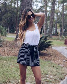 Sonata Striped Tie Shorts - Black