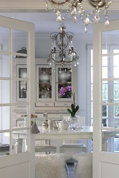 Blue, White and a Chandelier-fantastic!