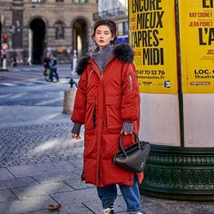 Red down parka with large pockets