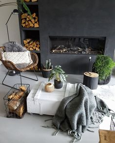 """What You Should Do About Fireplace with Wood Storage Beginning in the Next 9 Minutes The fireplace looks fantastic!"""" Especially in the event the fireplace is in your room or you're the sole guests that day. A lovely fireplace in… Continue Reading → Interior Design Living Room Warm, Living Room Decor, Bedroom Decor, Interior Tropical, Stucco Fireplace, Cosy Fireplace, Fireplace Wall, Hygge Home, Decoration Inspiration"""