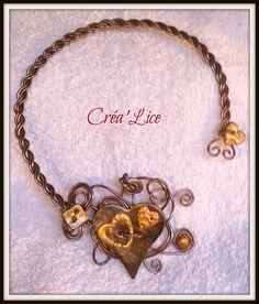"""collier fil aluminium """"coeur chocolat"""" : Collier par crea-lice"""
