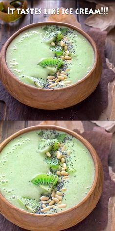This Green Matcha Smoothie Bowl makes a perfect summer treat. Made with bananas, kiwis, matcha powder and almond milk – it tastes like ice cream and has only 180 calories! Smoothies With Almond Milk, Apple Smoothies, Healthy Smoothies, Healthy Drinks, Food And Drinks, Healthy Food, Smoothie Au Matcha, Smoothie Vert, Smoothie Bowl Green