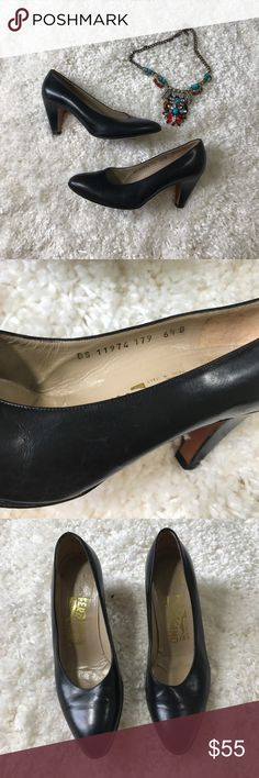 "Classic Salvatore Ferragamo black close toe heel In EUC classic lady like heel by Salvatore Ferragamo. Normal wear on heel and soles. Heels are about 2"" Salvatore Ferragamo Shoes Heels"