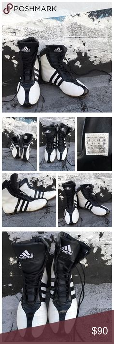 VINTAGE Unique Adidas Boxing style Hightops Can't wait to see which cool chick/dude gets these bc they rare simply AAAMAZING!! Bought them back in the 90s! Sleek minimalistic clean finish with these futuristic Hightops..great with dresses. adidas Shoes Athletic Shoes