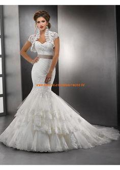 Elegante Brautmode münchen kaufen online aus Satin und Tüll Meerjungfrau mit Schleppe