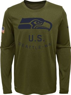 Nike Youth Salute to Service Seattle Seahawks Legend Long Sleeve Olive Shirt 0e45c67ee