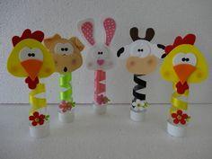 Encontrado na net Farm Animal Crafts, Farm Animals, Fun Crafts, Arts And Crafts, Farm Animal Birthday, Clothespin Dolls, Ideas Para Fiestas, Mothers Day Crafts, Cow