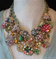 Embellished necklace made of vintage jewelry