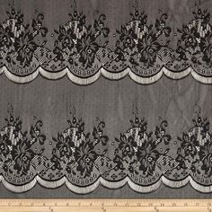 Stretch Lace Knit Scalloped Black from @fabricdotcom  The ultimate fashion lace- this soft lace fabric is perfect for tops, overlays, accents and lingerie. It features a 20% four way stretch.