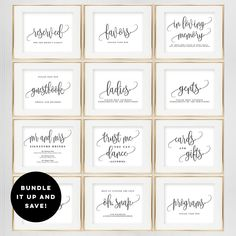 BUNDLE DEAL! Wedding Sign Templates Set - Printable Wedding Signs - Includes 2 Sizes 5x7 and 8x10 - Lovely Calligraphy #LCC by berryberrysweet on Etsy https://www.etsy.com/listing/561705451/bundle-deal-wedding-sign-templates-set