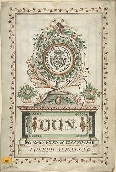 Frontispiece with Vegetal Medallion and Latin Dedication surrounding a Coat of Arms (Recto); Page of Spanish Writing within Border (Verso)