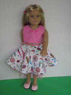"18 Inch kidz'n cats & Magic Attic Dolls-Doll Clothes-18"" Doll Top-18"" Doll Skirt-18"" Doll Petticoat-Paris themed. 18"" Doll Belt by DreamyDoll on Etsy"