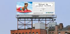 An integrated summer campaign, which included an animated TV spot and photographic billboards, raised awareness about Jay Peak Resort in the Montreal market. Jay Peak Resort, Summer Campaign, Billboard, Montreal, In This Moment, Marketing, Tv, Design, Poster Wall
