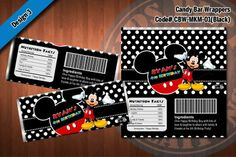 MICKEY MOUSE Printable Candy Bar Wrappers for Mickey Mouse Birthday ...