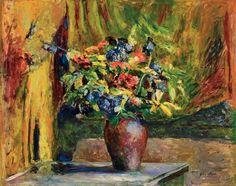 Edouard Vuillard, Delphiniuns e Gerânios (1906)   Vuillard pinta um arranjo colorido em cores de amarelo, laranja e vermelho, cheios da luz do verão.   A aplicação do pincel usado, é visivel,  principalmente nas flores centrais do ramalhete de gerânios vermelhos, íris amarelos e delphiniuns azuis (Pieds-d'alouette) para esse resultado virtuoso.   O vaso simples e o fundo se dissolvem em superfícies abstratas e vibrantes.   O ambiente parece inflamado por esta orquestração que é realizada ao…