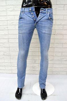 Dettagli su Jeans Uomo DONDUP Taglia Size 30 44 Pantalone Pants Blu Chiaro  Denim Slim Fit 71cce0ebe96