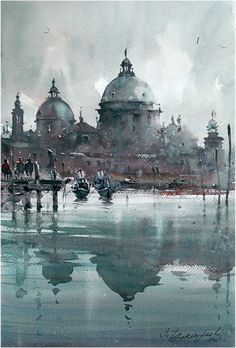 Dusan Djukaric Santa Maria della Salute, watercolor, 36x54 cm #watercolor jd