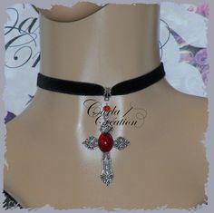 Handmade Gothic tissu décoratif tour de cou Col Noeud Bow collier élégant