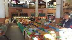 Various seeds and nuts at the biggest food market in Tajikistan