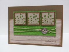 handmade card: Masculine Pocket Silhouettes Thanks by fyafli69 ... squares (slightly larger than inchies) with leaves ... green, brown and light kraft ... like the layout and textures from embossing folders ... greeen tiny lattice ... light kraft with woodgrain ... like it! ... Stampin'Up!