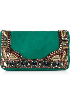 New Bags to Get Excited About This Fall Idea: Clutch noche Matthew Williamson embellished emerald suede clutch. Beaded Clutch, Beaded Purses, Diy Clutch, Clutch Bags, Matthew Williamson, Chloe Purses, Best Leather Wallet, Vintage Purses, New Bag