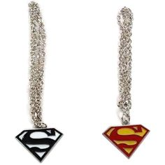Superman Logo Shaped Pendant Necklace Chain 2pcs ($20) ❤ liked on Polyvore featuring jewelry, necklaces, accessories, earrings, superman jewelry, chains jewelry, superman necklace, pendant chain necklace and pendant necklace