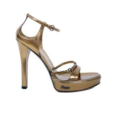GUCCI METALLIC BRONZE LEATHER PLATFORM SANDALS | From a collection of rare vintage shoes at http://www.1stdibs.com/fashion/accessories/shoes/