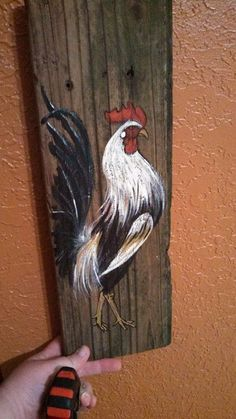 Game rooster painting on reclaimed farm wood by diyosaur on etsyWould love to paint each of girls and hang on coopBest 12 Rustic rooster painting rooster wall decor by CottageDesignStudio – SkillOfKing. Rooster Painting, Rooster Art, Tole Painting, Arte Pallet, Pallet Art, Chicken Painting, Chicken Art, Pallet Painting, Painting On Wood