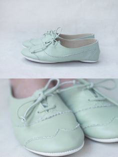 Mint Oxfords, Handmade Pastel Leather $120.00