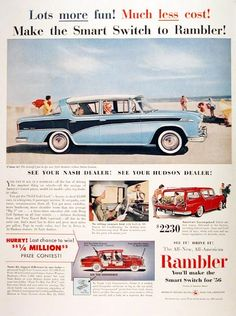 1956 American Motors Rambler Custom Sedan original vintage ad. Also features America's lowest priced station wagon, Rambler Wagon at only $2,230.