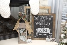 Neutral Christmas Tree and Mantel decor with a Chalkboard Christmas Sign.