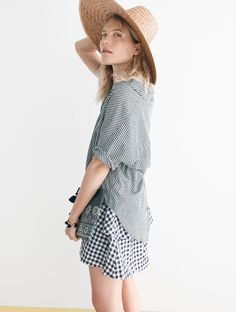 madewell gingham tiered skirt worn with the courier button-back shirt + communitie™ straw hat.