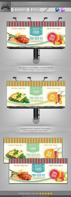 Retro Taste Food/Restaurant Billboard #GraphicRiver [ Corporate Billboard – Retro Taste Food/Restaurant] 70×30 in +1.0in Bleed, CMYK Print Ready. Fully-Layered Photoshop PSD CS4 or higher – 100DPI (increasable/resizable) Fully-Layered InDesign INDD/IDML CS4 or higher- 300DPI Easy to customize and 2 Color Themes Incl. Multipurpose Corporate Billboard Template. Excellent for your multipurpose corporate usage. Font used: Aleo,Winsdom Script,Bebas Neue Exclusive on Graphicriver Only. Preview…