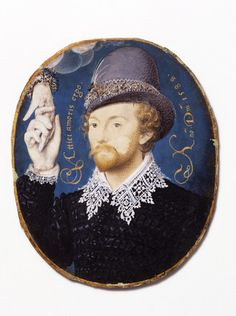 Young Man Clasping a Hand from a Cloud, by Nicholas Hilliard (1547-1614). Miniature, watercolour on vellum mounted on to a plain brown card.