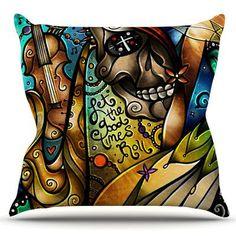 KESS InHouse Good Times Roll by Mandie Manzano Outdoor Throw Pillow
