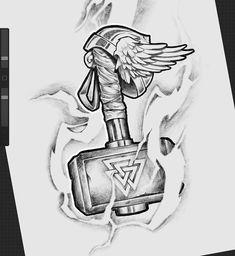 Viking Tattoo Sleeve, Viking Tattoo Symbol, Norse Tattoo, Viking Tattoos, Dog Tattoos, Thor Tattoo, Dark Tattoo, Tattoo Sketches, Tattoo Drawings