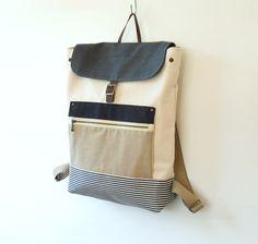 Unisex, Ivory Canvas Backpack / Laptop bag / Leather closure / front zipper pocket / 15 inch, Unique Design of BagyBag. $95.70, via Etsy.