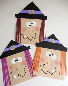 Sac Halloween, Halloween Arts And Crafts, Theme Halloween, Halloween Cards, Halloween Pumpkins, Halloween Witches, Kids Crafts, Preschool Crafts, Projects For Kids