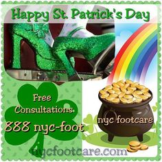 Happy St. Patrick's Day from NYC FOOTCARE 888-nyc-foot / nycfootcare.com 212.385.2400 #NYC #pedicure #highheels #l4l #toes #makeup #manhattan #bronx #brooklyn #queens #fashion #fashionista #heels...