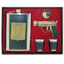 Flachmann Set mit Feuerzeug- Pistole Becher und Trichter Ukraine Von LiKO