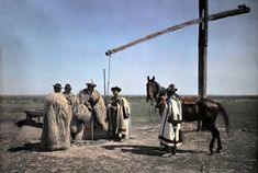 Hungary --- Cowboys in sheepskin and a horse center around a well in the puszta --- Image by © Hans Hildenbrand/National Geographic Society/Corbis National Geographic Society, Principles Of Art, Pattern Images, Renaissance Art, Op Art, Historical Photos, Old Photos, Art History, The Incredibles