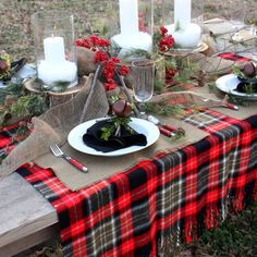Tartan table setting - perfect for a winter wedding
