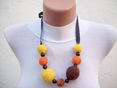 Felted Necklace Yellow Brown Orange  Fall Fashion Holiday by nurlu, $15.00