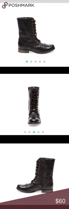STEVE MADDEN TROOPA BOOTS Steve Madden TROOPA booties. Women's size 8. Black combat boots. They go with everything and are very durable. Barely worn. Steve Madden Shoes Combat & Moto Boots