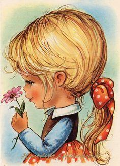Vintage Postcard 70's sweet big eye girl with by CuteEyeCatchers, €3.50
